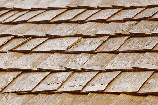 Close-up photo of a wood shake roofing