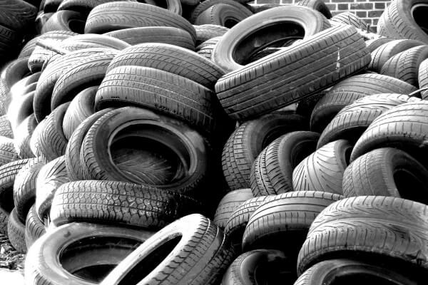 a pile of used, recyclable tires