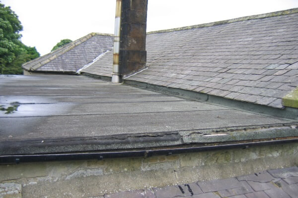 asphalt roof with a small amount of ponding